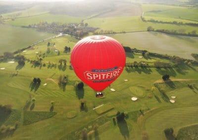 Kent Ballooning   Spitfire balloon over golf course